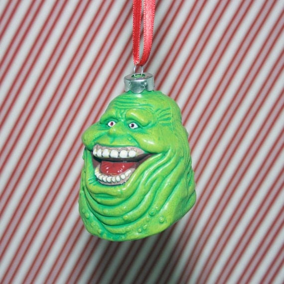 ghostbusters slimer ghost christmas ornament by regeekery