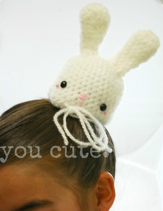 Items similar to Amigurumi Crochet Bunny Hair Bun Cover on ...