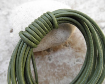Round Leather Cord - 1mm - Absinth - By the Yard