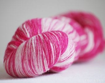 Kauni Wool Yarn, Self-Striping, Pink White Gradient, 1ply