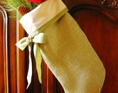 Shabby and Chic Green Burlap Christmas Stockings