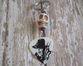 Freddy Krueger White Magnesite Skull Key Ring