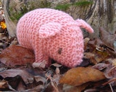 Baby Pig Knit Toy, wool - natural toy pink piglet stuffed animal for baby and child