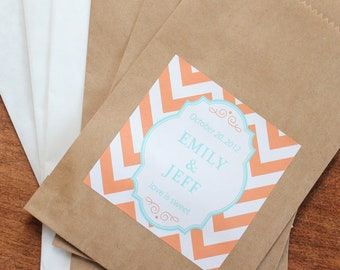 24 Wedding Favor Bags with Personalized Chevron Labels - ANY COLOR - candy buffet bags, wedding favors, bridal shower favors