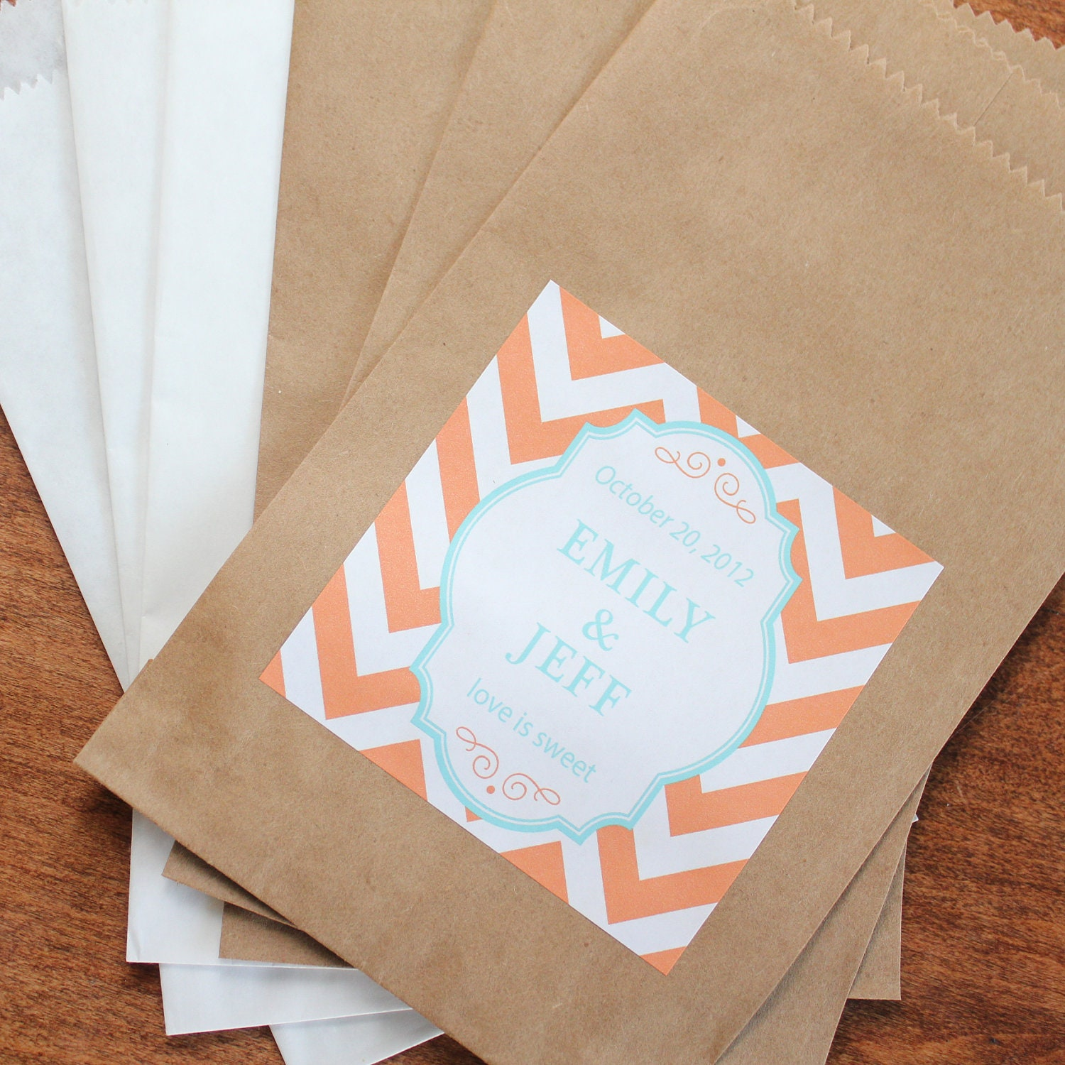 Wedding Favor Bags For Candy : 24 Wedding Favor Bags with Personalized Chevron by thefavorbox