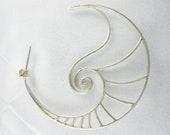 Spiral Nautilus Large Hoop Earrings