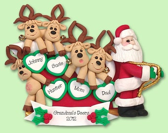Santa & Reindeer Family of 5 HANDMADE POLYMER CLAY Personalized Christmas Ornament