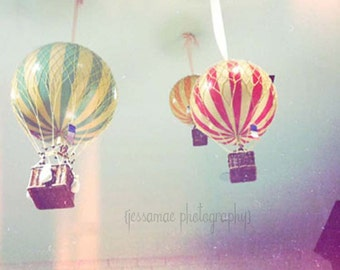Hot Air Balloon Photography, Whimsical, Hot Air Balloons Wall Art, Baby Nursery Art, Colorful Nursery Art, Hot Air Balloon Decor, Pastel Art