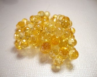 Citrine Yellow Cubic Zirconia Microfaceted Teardrop Briolettes