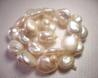 Freshwater Baroque Coin Pearls - 10-11mm - 1 dozen Pearls