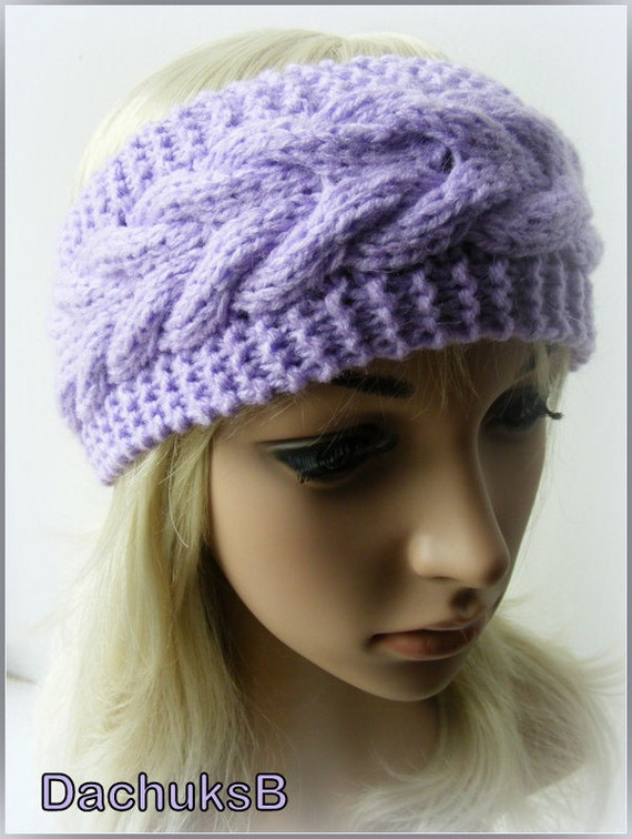 Cable Knit Ear Warmer Pattern : Hand Knitted Headband Ear Warmer In Purple Color Cable Pattern