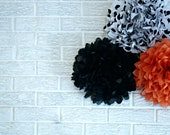 Halloween Decor ... Tissue paper pom poms - 3 poms - choose your colors - pomtree
