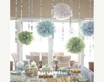 choose your colors...  10 Tissue paper poms // weddings // birthdays // classroom // bat mitzvah // graduation // party decorations