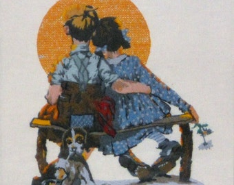 "Norman Rockwell Needlework 1981 ""Little Spooners"" or ""Sunset"" Saturday Evening Post  April 24, 1926"