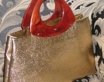 Metallic Gold Sculptural Handle Handbag