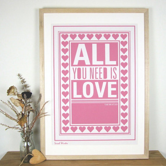 The Beatles - A2 Typographic Screenprint
