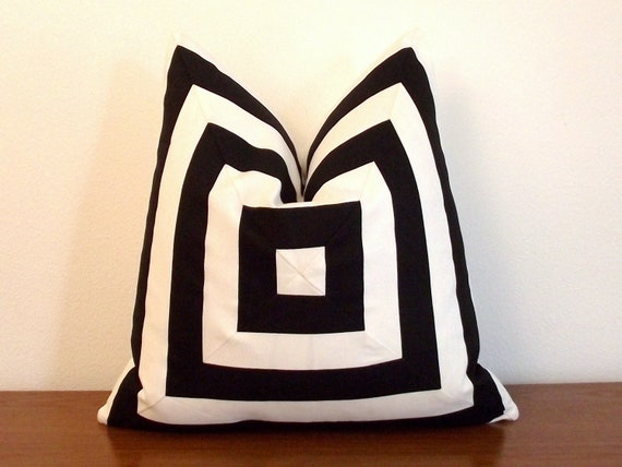 Black And White Geometric Throw Pillows : Decorative Pillow Cover Black and White Stripes Geometric