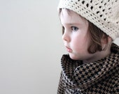 Slouchy Beret Hipster Hat in Cream. Made to Order in Toddler/Preschooler size.