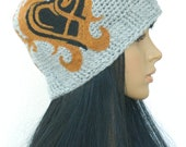 Winter Beanie Winter Hats Cloche Hat Tattoo Inspired Felted Hat for Adults Men Women Teens In Grey