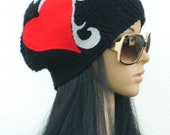 Winter Cloche Winter Beanie Tattoo Inspired Felted Hat For Adults Men Women Teens In Black