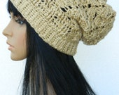 Slouchy Beanie Winter Slouch Earwarmers Snood Beret Tam For Adults Teens  In Light Tan Bone