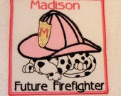 Embroidered baby girl bodysuit or T shirt firefighter