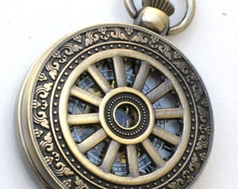 Steampunk - WHEEL OF TIME - Pocket Watch - Mechanical - Skeleton Style - Necklace - Antique Brass - Neo Victorian - By GlazedBlackCherry