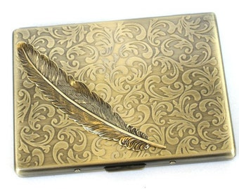 Steampunk - Metal ANGEL FEATHER Cigarette Case - Slim Wallet - Large Card Case - Antique Brass Bronze By GlazedBlackCherry S2