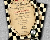 Alice in Wonderland Tea Party Invitation or Brithday Invitation, Bridal Shower Invitation, Invite
