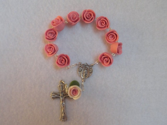 Two rose one decade clay pink and white rosary, custom order