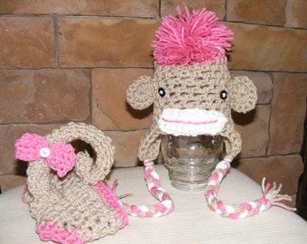 Newborn or 0-3 months  baby GIRL  monkey  diaper   cover hat set crochet Newborn photo props photography boy girl