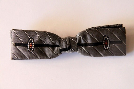 Diamond and Pinstriped Clip On Bow Tie