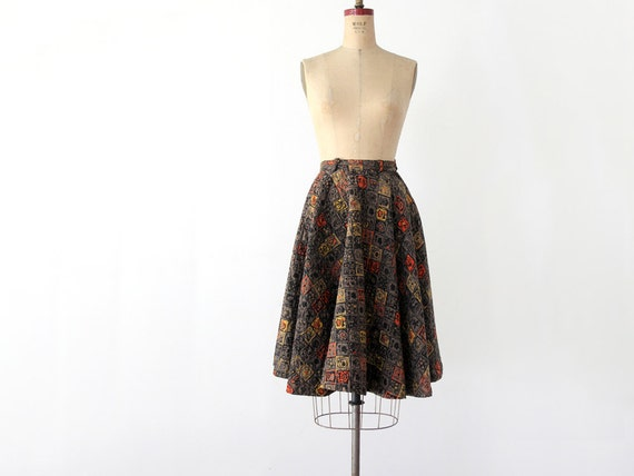 1950s Circle Skirt // Vintage Quilted Skirt // Waist 24