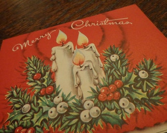 Chunky Dripping Candles in Pine Bough, Large luscious flames, 1950s Christmas card, See FAUX candlelight IDEA,   MANY in shop