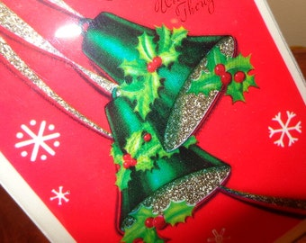 Goldy Silver Glitter Bells, Plastic Cover, Unusually beautiful  & Large 1940s Christmas Card, see HOME DECOR ideas SeaSeaRider