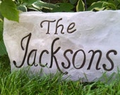 FANCY-SHMANCY Stone - Personalized Garden Stone - Anniversary - Wedding - Garden Sign -Carved Rock -Gifts for Him - Closing Gift