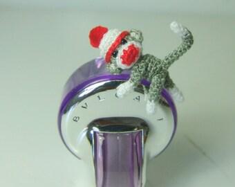 1 inch crochet christmas grey sock monkey - Tiny amigurumi crochet animal