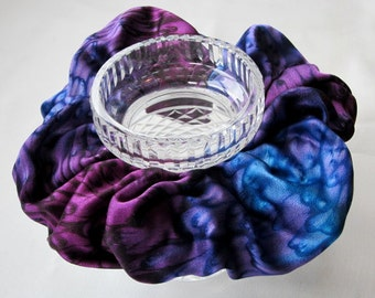Hand Dyed Purple/Blue  Silk Scrunchie