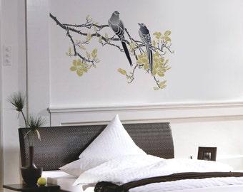 Branch Stencil for Walls - Magnolia Tree Branch with Birds - Large, Reusable DIY Wall Stencil
