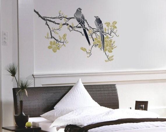 Ramo stencil per pareti filiale di albero di magnolia con for Stencil per pareti