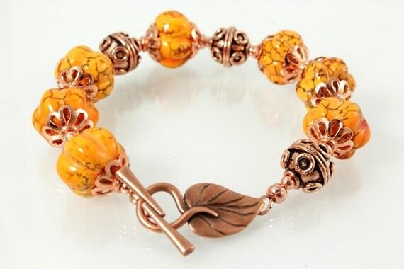 Pumpkin Bracelet Magnesite and Copper