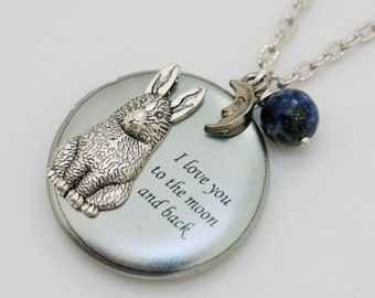 Bunny Love,Jewelry Gift, Pendant,Silver Locket,Rabbit,Bunny,Woodland-I love you to the moon and back ,Bridesmaid Necklace,Wedding Necklace,