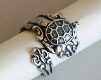 Antique Spoon Ring, Jewelry Gift, Silver Turtle SPOON RING , Silver Spoon Ring,Antique Ring,Silver Ring,Wrapped,Adjustable,Bridesmaid.
