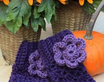 Purple Flower Gloves