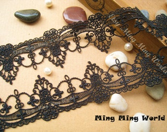 Black Lace Trim- 1 Yard Black Palace Hanging Ornament Lace Trim (L2)