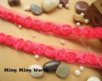 Dark Pink Chiffon Lace Trim -4 Yards  Chiffon 3D Rose Lace Applique Trim(C62)