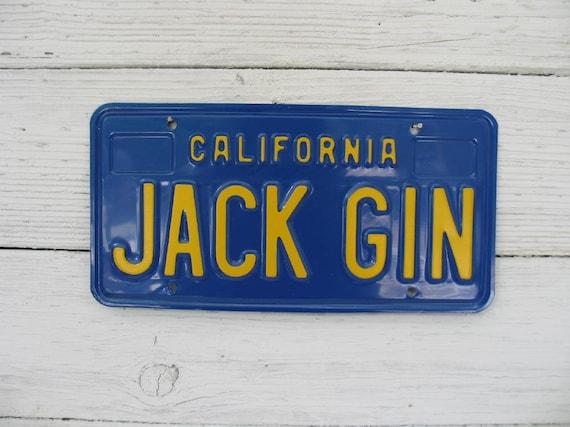 Jack Gin Vintage California License Plate
