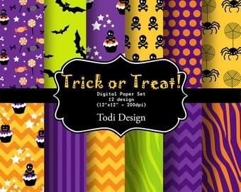 SALE Trick or Treat- INSTANT DOWNLOAD Digital Paper Set