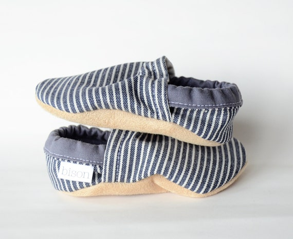 Railroad Stripe Denim Baby Shoes Bison Booties Size 0 to 6 Months Newborn Ready to Ship shoes slippers jeans train thomas navy blue