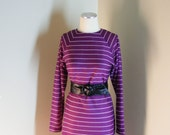 Vintage 80s Dress - 1980s Purple Striped Dress - New Wave Tunic Dress Sz M